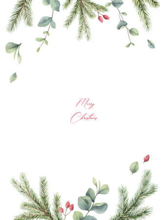 Watercolor vector Christmas card with fir branches, flowers and eucalyptus.