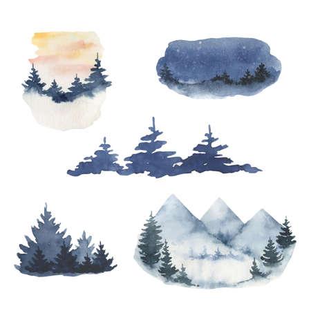 Watercolor vector set of forest winter landscapes. Illusztráció
