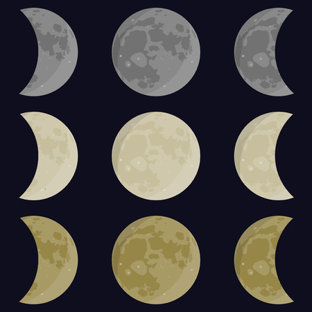 moon phases: Yellow, gray, white moon. Full and half moon. Phases vector Illustration