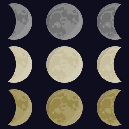 half moon: Yellow, gray, white moon. Full and half moon. Phases vector Illustration