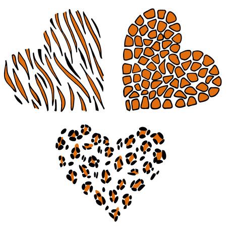 Vector heart leopard, tiger, giraffe. Animal skin. Wildlife print.