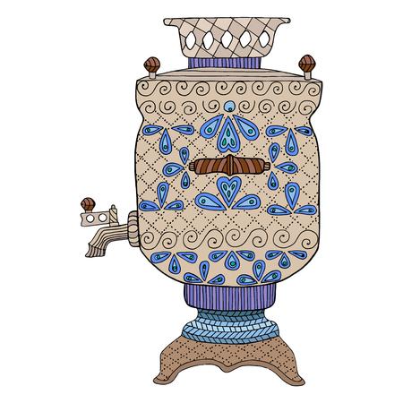 tangle: Zentangle and zendoodle kettle. Zen tangle doodle russian samovar. Coloring book teapot vector Illustration