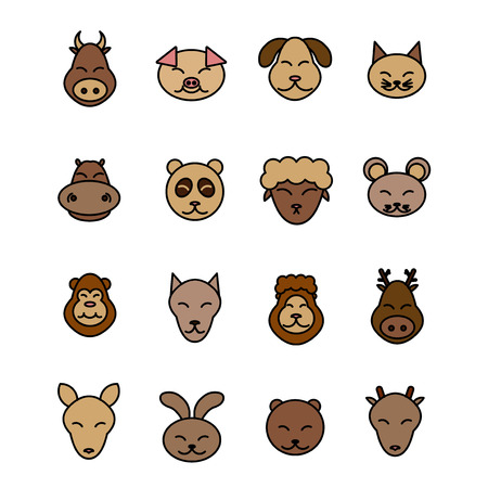 Different animals vector. Icons set brown pet. Pig, dog, cat, cow, mouse, sheep, panda, hippopotamus, deer, lion, wolf, monkey, bear, rabbit, kangaroo Illustration
