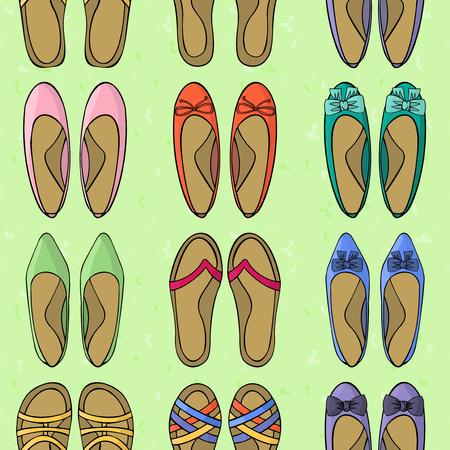 footgear: Womens shoes. Footgear summer or spring. Seamless background pattern footwear Illustration