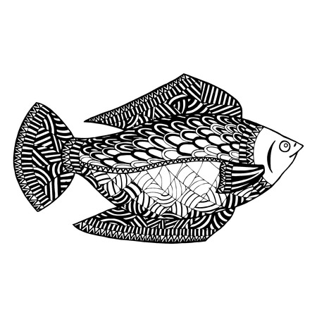 Fish vector zentangle. Undersea world zen tangle and doodle. Submersed coloring book. Subaqueous tattoo. Black and white subsurface