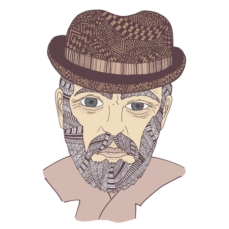 Have the blues. Zen tangle and doodle old man. Zentangle senior portrait. Coloring book tired male. Vector tattoo