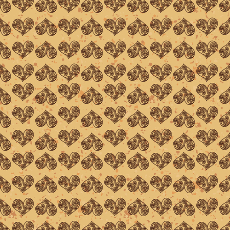 fondness: Seamless pattern background. Brown hearts on a gold ground. Fondness wallpaper. Symbol of love in Greek style