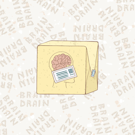 drain: The concept of brain drain. Smart people are leaving the country. Sending symbolizing mind. The modern problem. Vector illustration