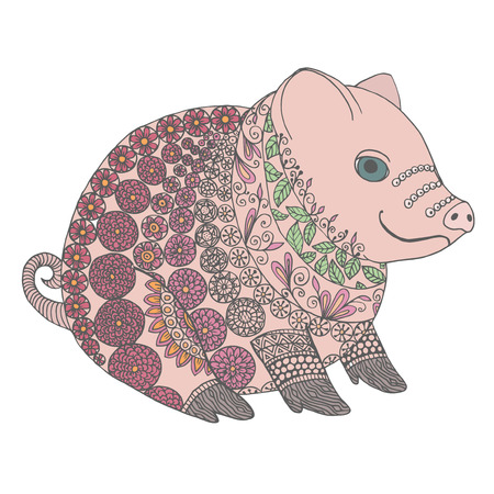sow: Zentangle illustration with sow. Zen tangle or doodle little boar. Coloring book pig