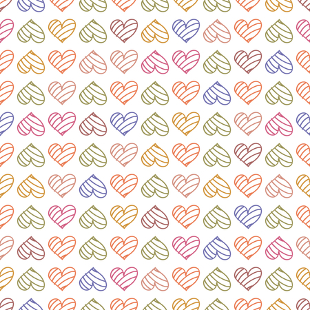 Happy Valentines day.  pattern background with pastel hearts. Vector illustration for romantic greeting. Wallpaper for wedding Illustration