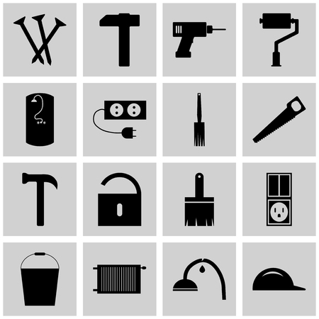 Icons set repear. Vector gray square signs. The concept of construction