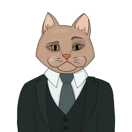warden: Catman in a business suit and tie. The cat man is the boss. Biggie vector illustration