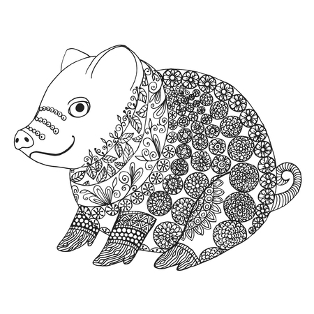 Zentangle illustration with pig. Zen tangle or doodle piglet. Coloring book domestic animal