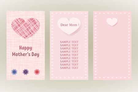ecard: Happy Mothers Day greeting card. Three different vector patterns.