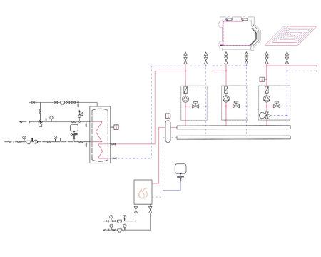 A diagram of the gas boiler. Project contour vector.
