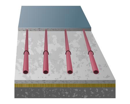 Vector 3D diagram warmfloor. Warm floor in layers: concrete, cement, screed, pipe, coating. Vettoriali