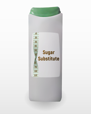 Substitute sugar with plastic wrap. Vector illustration of sweetener. Aspartame for tea and coffee. Tablets of Sucralose. Vector Illustration