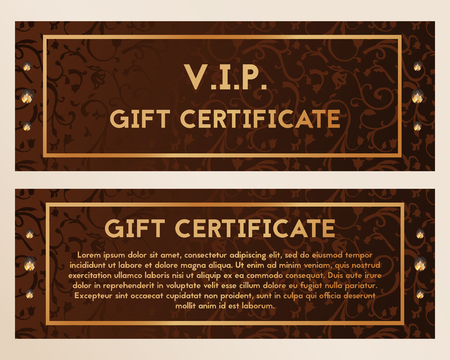 A gift certificate is richly decorated with diamonds. Voucher brown with precious stones. Vector illustration. Illustration