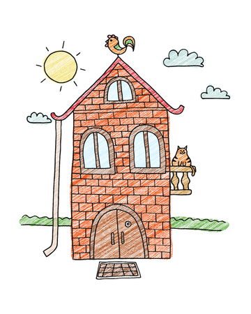 House for kids. Hand drawn sketch of home. Villa vector illustration. Coloring book for adult. Cartoon village.