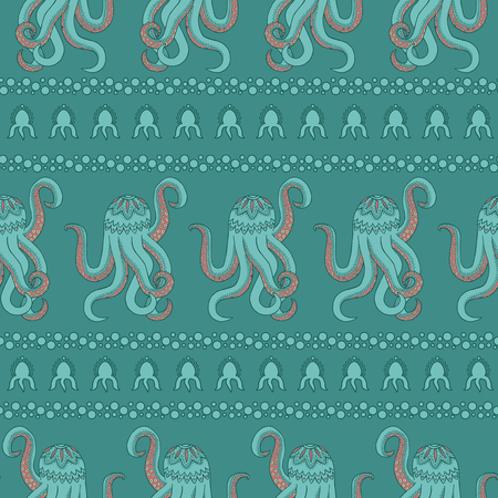 Seamless pattern background of the ocean. Vector zentangle illustration of an octopus with tentacles. Marine drawing Zen Tangle.