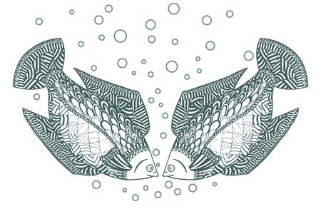 Two fish Zen tangle. Zentangle Undersea animals. Ocean, river or sea wildlife coloring book. Vector illustration.