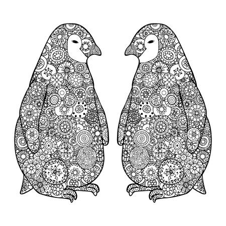 floe: Two cute loving penguin. Zen tangle vector illustration. Zentangle Antarctica black and white.