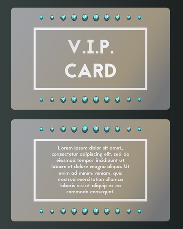 VIP visiting card vector illustration with Topaz . Luxury cutaway with blue brilliant.