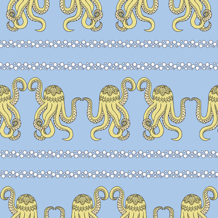 Seamless pattern background with abstract devilfish. Yellow octopus vector of a Zen Tangle. Zentangle wallpaper sea.