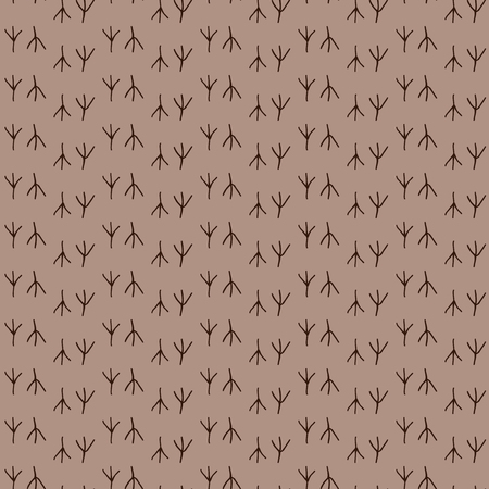 dingbats: Seamless pattern background bird footprint. Prints of chicken vector. Brown wallpaper.