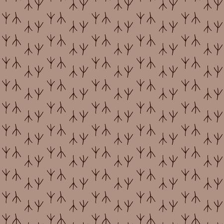 Seamless pattern background bird footprint. Prints of chicken vector. Brown wallpaper.