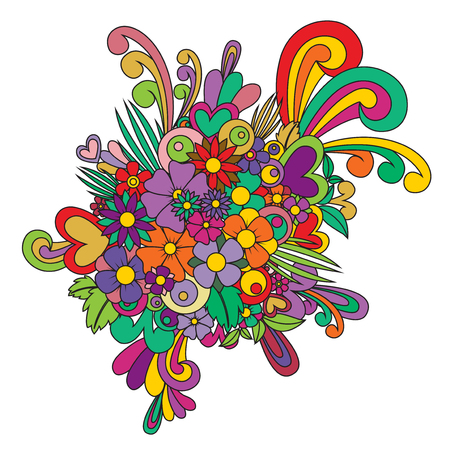 Zentangle abstract flower. Vector floral zen tangle