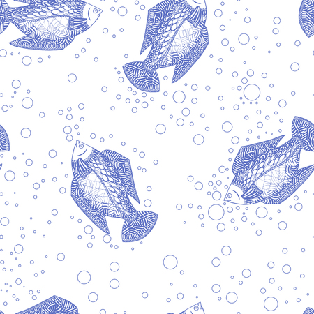Seamless pattern background the fish swimming. Vector illustration of underwater world. Marine life Wallpaper blue and white. Illustration