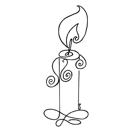 in monastery: Coloring book with a picture of a burning candle Illustration