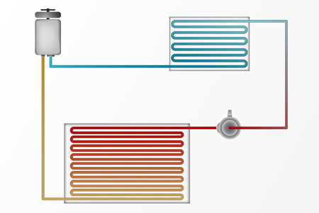 condenser: Diagram of air conditioning vector illustration. The technology of heating and cooling.