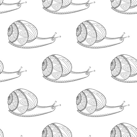 Ślimak czarno-biały kolor ilustracji wektorowych. Bezkręgowce mięczaków. Dzikie życie Zen plątanina bezszwowe tło wzór.