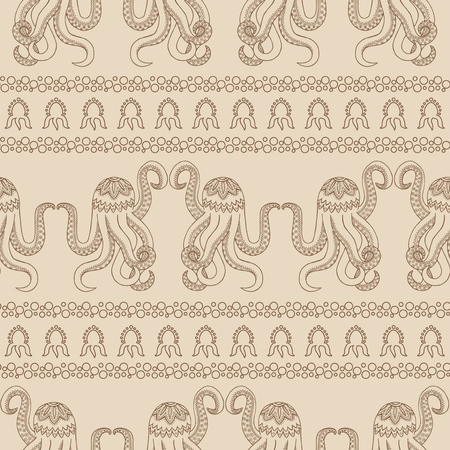 Seamless pattern background with Zentangle octopus. Underwater life in the style of Zen Tangle. A Wallpaper with abstract marine animals. Sepia colors. Illustration