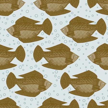 Seamless pattern of gold fish. Vector illustration wallpaper under water
