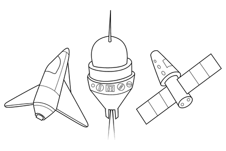 Rocket, shuttle and spaceship vector illustration. A set of space ships. Coloring book. Illustration