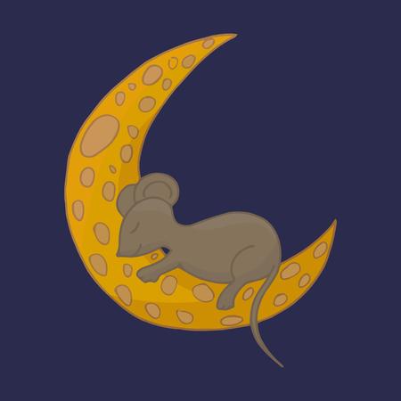 Little mouse is sleeping on the cheese moon. Fairy animal vector illustration.