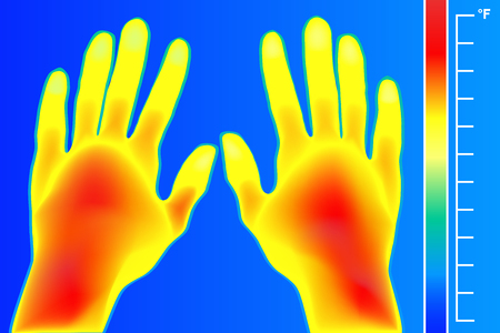 multi finger: Thermal imager Human hands and finger vector illustration. The image of a male arms using Thermographic camera. Scale is degrees Fahrenheit. Electromagnetic spectrum and infrared energy. Illustration
