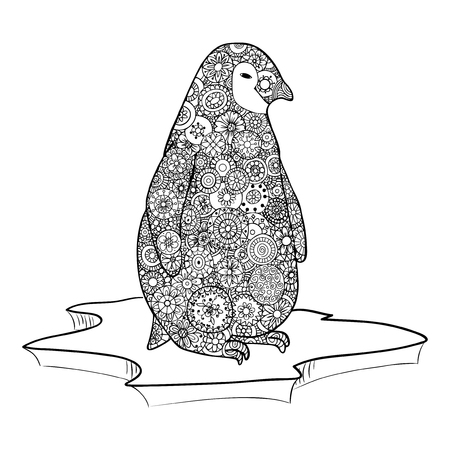 Penguin stands on an ice floe. Vector illustration.