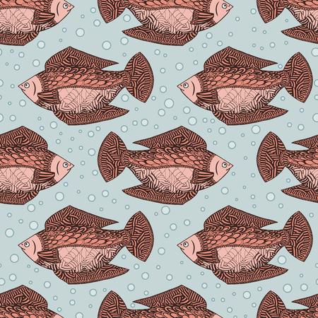 Seamless pattern background with red fish. Undersea wildlife. Wallpapers underwater animals.