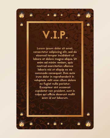 diamond stones: VIP party invitation. The certificate is richly decorated with diamonds. Vector illustration of banner with amber.
