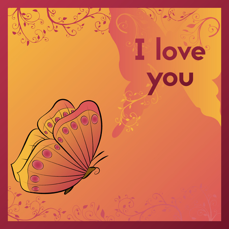 I love you. E-card for your beloved. Postcard with butterfly and plant. Orange greeting card vector illustration.