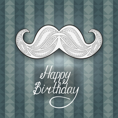 Greeting card for men Happy Birthday. Postcard decorated with a Zen Tangle mustache. Blue background with stripes and triangles vector illustration. Illustration