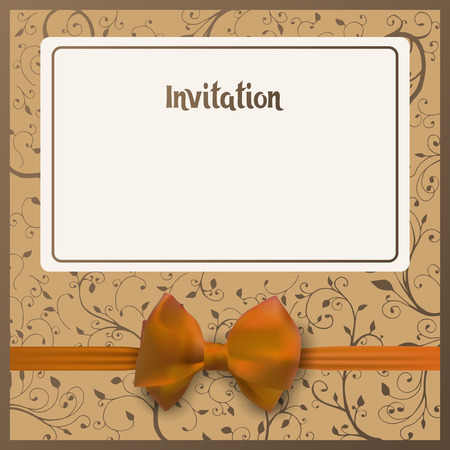 guests: Invitation postcard. Beige background with place for your text. Yellow bow with ribbon. Greeting card vector illustration.