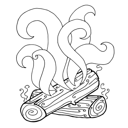 Drawing Fire Vector Illustration Black And White Outline Image Of The