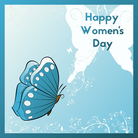 ecard: Happy Womens Day. Greeting card with beautiful flying butterfly. Template postcards pastel blue and white colors. E card vector illustration.