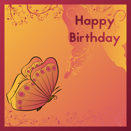Happy Birthday greeting card, The postcard is decorated with an orange butterfly and leaves with curls, Design birth template vector illustration.