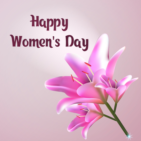 ecard: Happy Womens Day Greeting card with beautiful bouquet of lily, Template postcards with lilia.